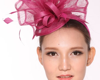 Kentucky Derby Feather Floral Sinamay Headband Fascinator Hat  Hot Pink