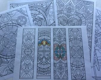 Coloring Pages Set of 5, Coloring for Grownups, Mini Digital Coloring Book, Fun Project, Hobby