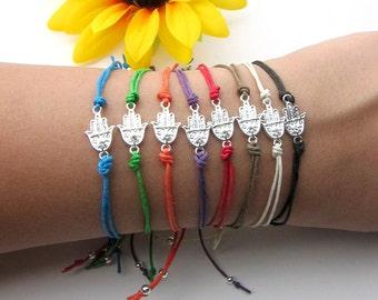 silver hamsa hand charm bracelet - hand of fatima with swarovski crystal on hemp cord - gift for her - friendship bracelet - women's gift