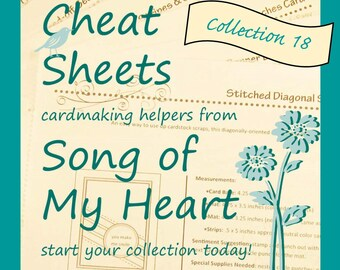 Cheat Sheets #18 Collection: Instant Digital Download cardmaking tutorials, sketches, rubber stamping, complete instructions & measurements