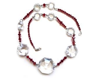 Vintage Chandelier Crystal and Swarovski Crystal Beaded Necklace