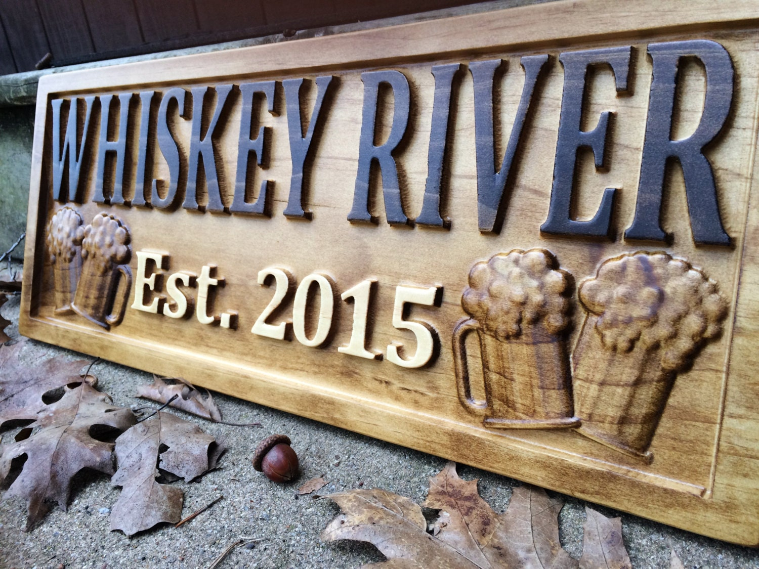 Personalized Bar Sign Carved Wood Sign Custom Wood Sign Personalized Wood Sign Groomsmen Gift Cabin Man Cave Pub Bar Decor Rustic Home Decor