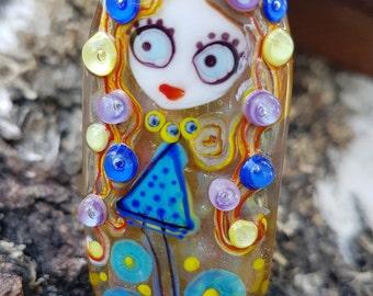 "Handmade Lampwork glass pendant, Lampwork glass focal bead, ""Girl"", artisan glass lampwork pendant unique for necklace jewelry making"