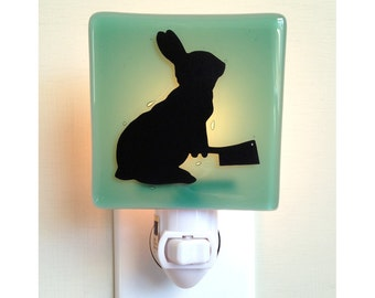 Rabbit Night Light - Bunny with a Meat Cleaver - Hand Painted Glass Night Light - Humor - Sea Green