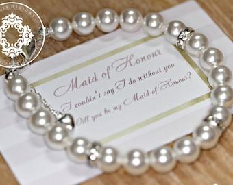 Swarovski Crystal Pearl Bracelets, Bridesmaid Bracelets,  Womens accessories, Bridal party, Bridal Accessories,