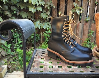 Vintage Red Wing Made in USA Lace Up Black Work Boots Men's Size 10.5 Dead Stock, Steel Toe Lineman Boots, Black Leather Logger Boots