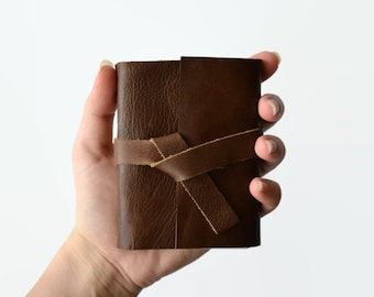 Pocket Size Journal Notebook with Blank Pages, Small Travel Diary, Travel Journal, Personalized With Initial, 3x4 Notebook Brown Leather