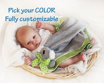 Gray Koala Bear Security Blanket, Lovey Blanket, Satin, Baby Blanket, Stuffed Animal, Baby Toy - Customize Color - Add Monogramming