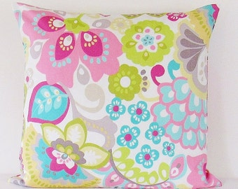 Pink Floral Pillow Cover, Pillow Cover, Throw Pillow, Aqua Lime Yellow, Decorative Throw Pillow, 16x16, 18x18, Zipper Pillow