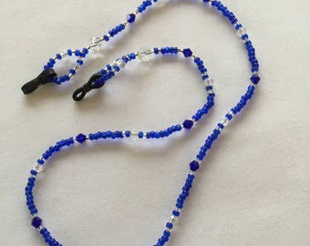 Bright blue beaded spectacle/glasses chain