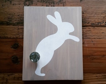 Rabbit/Bunny wood sign, hand-painted, with glass knob