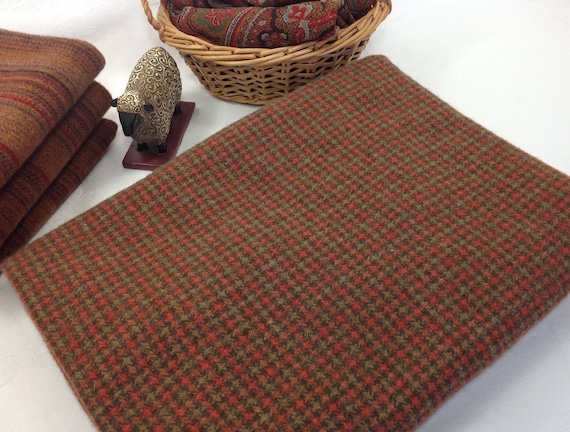 Brown and Red/Orange Small Check, Wool Fabric for Rug Hooking and Applique, Select-a-size, 1 yd, 1/2 yd, or 1/4 yd, W129