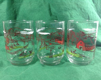 """Vintage Set of 6 Libbey Hickory Farms 4 1/4"""" Footed Juice Glass Tumblers"""
