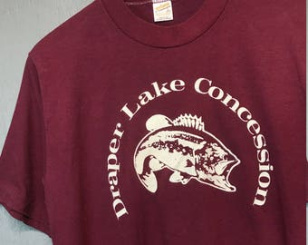 M vintage 80s Draper Lake t shirt * fish * 65.158