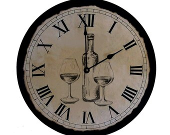Clock | Handmade Clock | Vintage Style Clock | Wine Clock | Wedding Gift | Kitchen Clock | Unique Clock | Wine | Large Clock