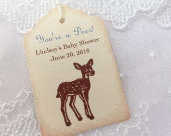 Boy Deer Tags Baby Shower Favor Tags You're a Deer Personalized Thank You Set of 10