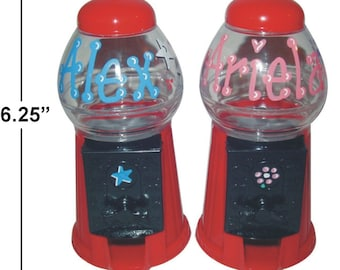 """Personalized Gumball Machine / Bank / 6.25"""" TALL / Candy Machine / Candy Party Favor / Child Gift / Gumballs / M&Ms / Skittles / Jelly Beans"""