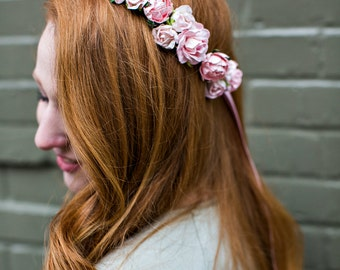 Pink Flower Crown, rustic wedding, Bohemian, bridesmaids, prom, Woodland, autumn, fall,  bridal headpiece, pink rose - WILD ROMANCE