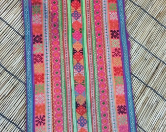 """Vintage Hmong Fabric - Vintage Cross-Stitch Fabric - Hand Embroidered - Hmong Hill Tribe - Tribal Fabric - Asian Fabric - 19"""" x 8.5 """""""