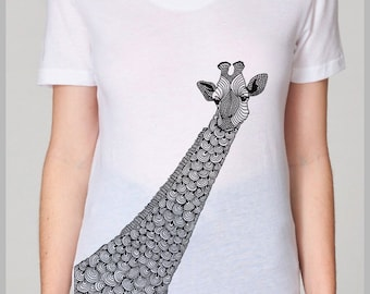 Women's Giraffe T Shirt Animal Pen and Ink Hand Printed Graphic Design American Apparel indie eco friendly tee S, M, L, XL 8 COLORS