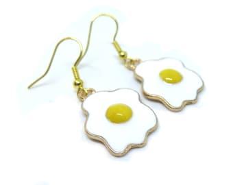 Fried Eggs Gold Dangle Earrings
