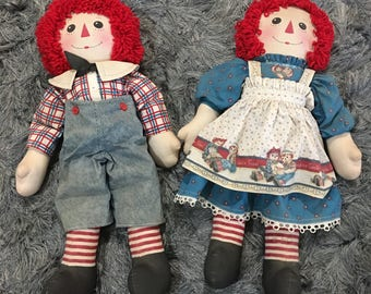 """Vintage Raggedy Ann And Andy Dolls 26""""Tall Things are Sweeter when Shared With Friends"""