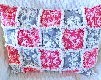 Rag Quilt Travel Pillow - Pink and Gray Pillow - Modern Rag Quilt Pillow - Pillow Sham with Insert - Pink and Gray Travel Pillow