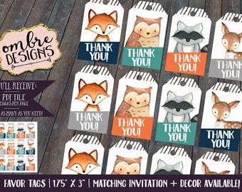 Woodland Animals Party Decor, Favor Tags, Woodland Party, Birthday, First Birthday, Baby Shower, Woodland Animals, Party Favors