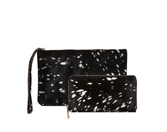 Matching Clutch & Purse Gift Set | Silver/Metallic and Black Pony Hair/Fur Clutch | 10% discount | by MAHI Leather