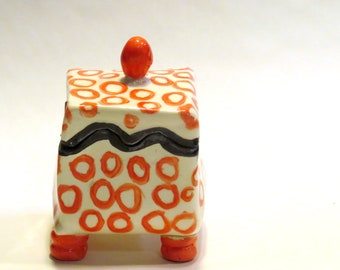 Ceramic Hand-Built Puzzle Box with Red Circles