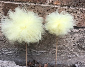 Yellow Tulle Pom-Poms
