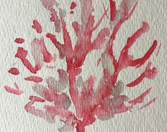 Red Coral Watercolor Painting Original Sea Theme Art