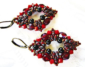 Woven earrings, Crystal Red/Burgundy and super-duo beads