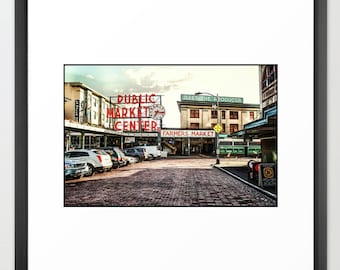 Pike Place Market, Street View, Icon, Seattle, Sign, Vintage, Antique, Print, Fine Art Photography, Steampunk (6 Sizes) Canvas, Framed