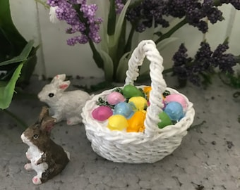 Miniature Easter Basket with Brightly Colored Eggs