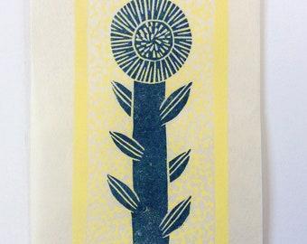 mini linocut - FLOWER // 4x6 art print // printmaking // block print // nature art // blue, yellow // daisy // original // small, miniature