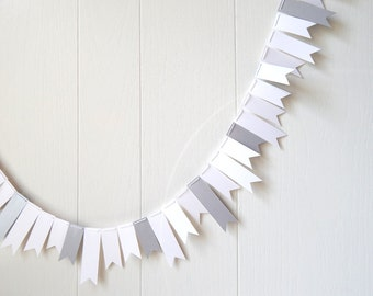 White Silver Garland / Bunting / Skinny Flag Fringe Garland Shiny / Photo Prop / Holiday Decor / Wedding Decor