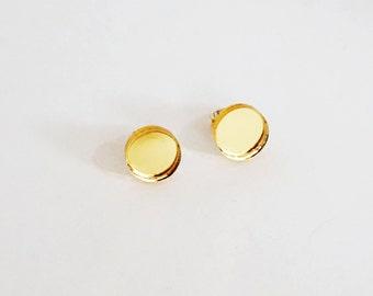 Gold Mirror Circle Studs | Laser Cut Jewelry | Acrylic Stud Earrings | Circle Stud Earrings | Laser Cut Stud Earrings | Laser Cut Jewellery