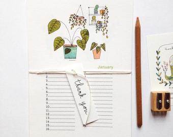 Calendrier perpétuel pour noter les anniversaires, calendrier illustré, illustration de cactus, succulents, monstera, plantes grasses