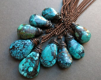 Raw Turquoise Necklace - Genuine Turquoise Jewelry - Long Boho Necklace - Raw Turquoise Jewelry - Real Turquoise Pendant - Natural Turquoise