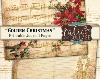 Printable, Journal Pages, Golden Christmas, Sheet Music, Christmas Ephemera, Holiday Pages, Junk Journal Kit, Snowflakes, Poinsettias