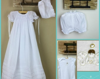 Long Christening Gown Set, white Cotton Baptism Gown, Girls Baptism Dress, Dedication Dress,   4 pzs (Gown, Bonnet, Bloomers and Body Suit)