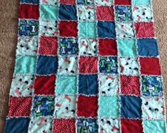 Weenie Dog Dachshund Rag Quilt Handmade Ready to ship