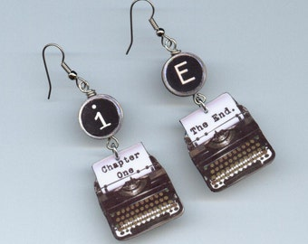 Typewriter Earrings - Chapter one The end  - typewriter key jewelry - Author's writer gift - mismatched earring Designs by Annette