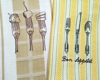 Set of 2 Gourmet Kitchen Towels 100% Cotton, Machine Embroidery, Hostess Gift, Wedding Gift, Teacher Gift Cook Gift