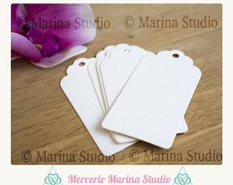 10 white little tags in Kraft cardstock American 4x2cm