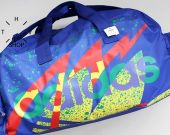 NOS 1992 Adidas Originals colored training handbag / Duffel gym shoulder bag / Collectors sports weekender luggage travel / Vietnam 90s