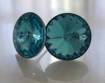 Light Turquoise Swarovski Crystal Stud Earrings in a Silver Setting