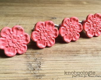 SET OF 4 -  CORAL Pink Distressed Flower Cast Iron Knobs - Rustic Shabby Chic Antique Painted Drawer Pull - Decorative Knob