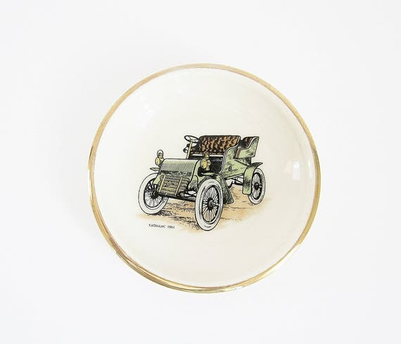 Cadillac 1904 Miniature Plate Hyalyn Porcelain Pin Dish Ceramic Coaster Vintage Automotive Collectible Man Cave Decor Gift For Dad Car Guy & Cadillac 1904 Miniature Plate Hyalyn Porcelain Pin Dish
